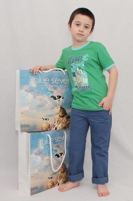 Dětské plátěné kalhoty BLUE SEVEN